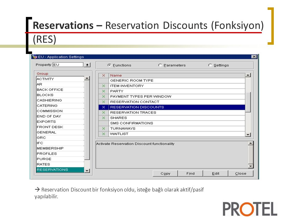 Reservations – Reservation Discounts (Fonksiyon) (RES)