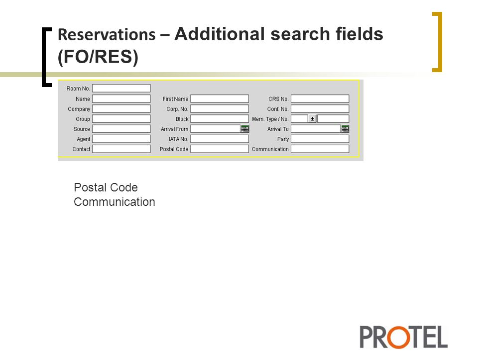 Reservations – Additional search fields (FO/RES)