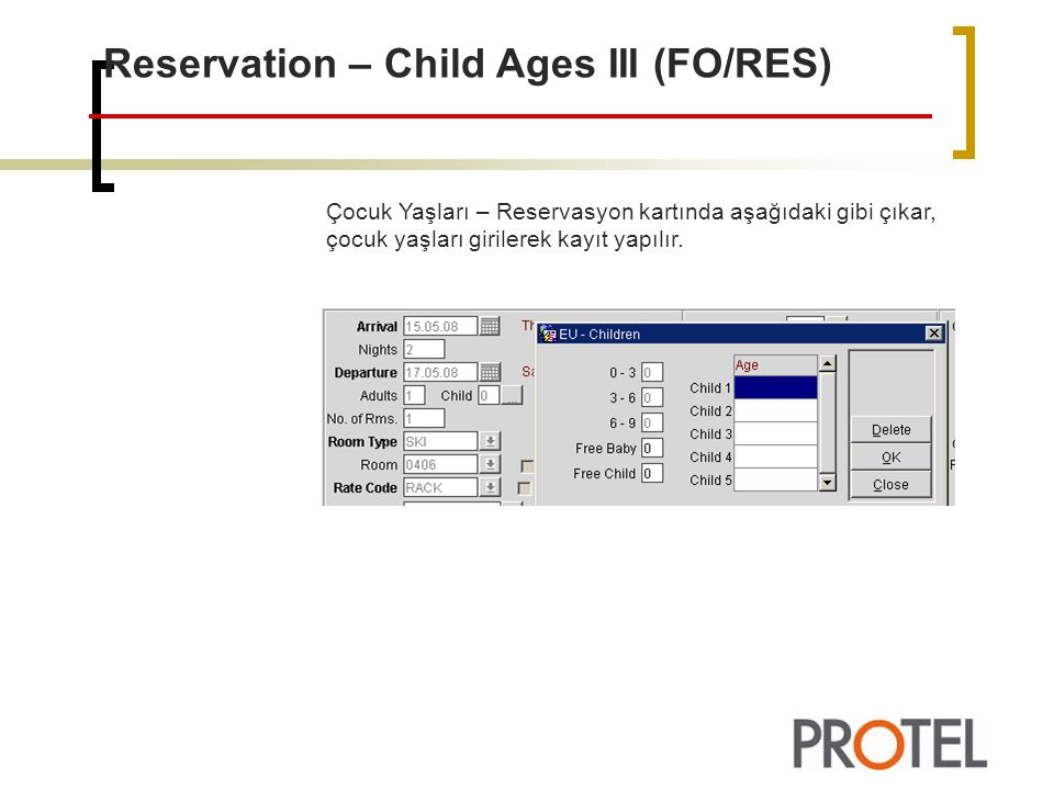 Reservation – Child Ages III (FO/RES)