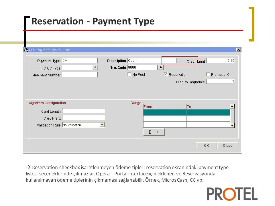 Reservation - Payment Type