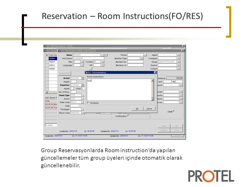 Reservation – Room Instructions(FO/RES)