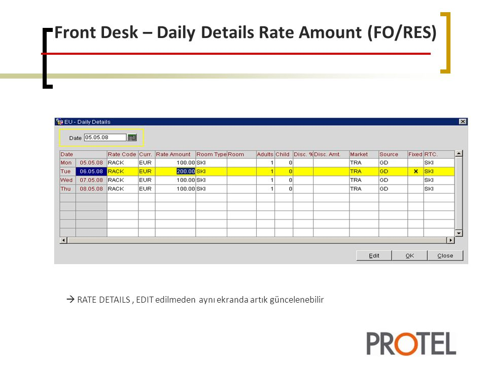 Front Desk – Daily Details Rate Amount (FO/RES)