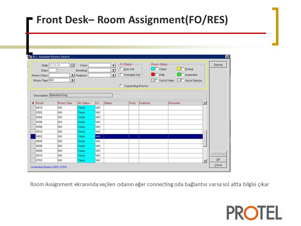 Front Desk– Room Assignment(FO/RES)