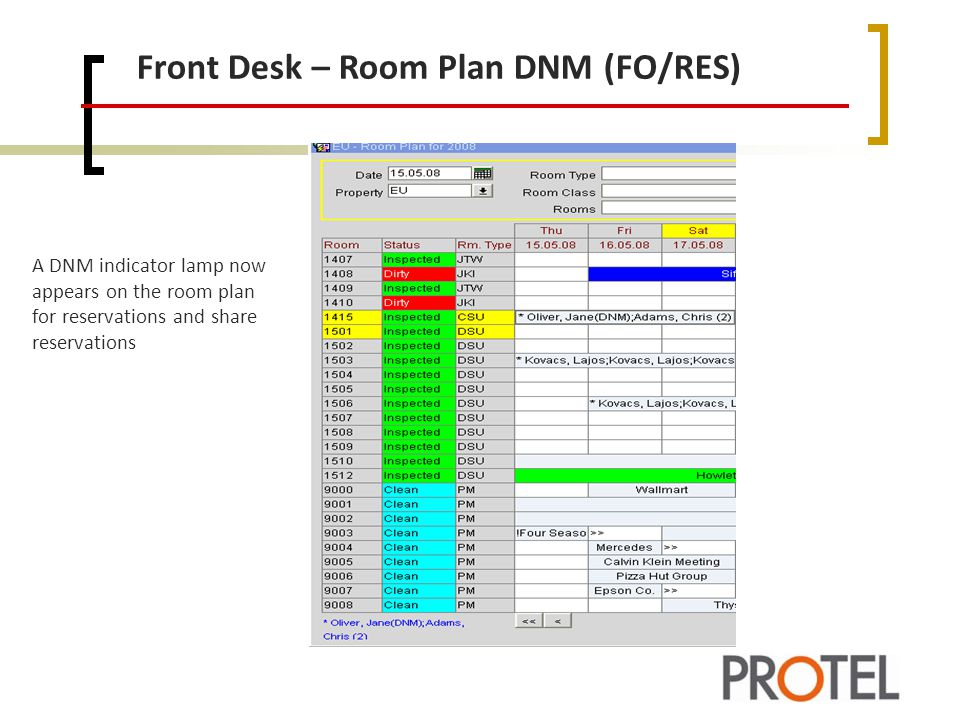 Front Desk – Room Plan DNM (FO/RES)
