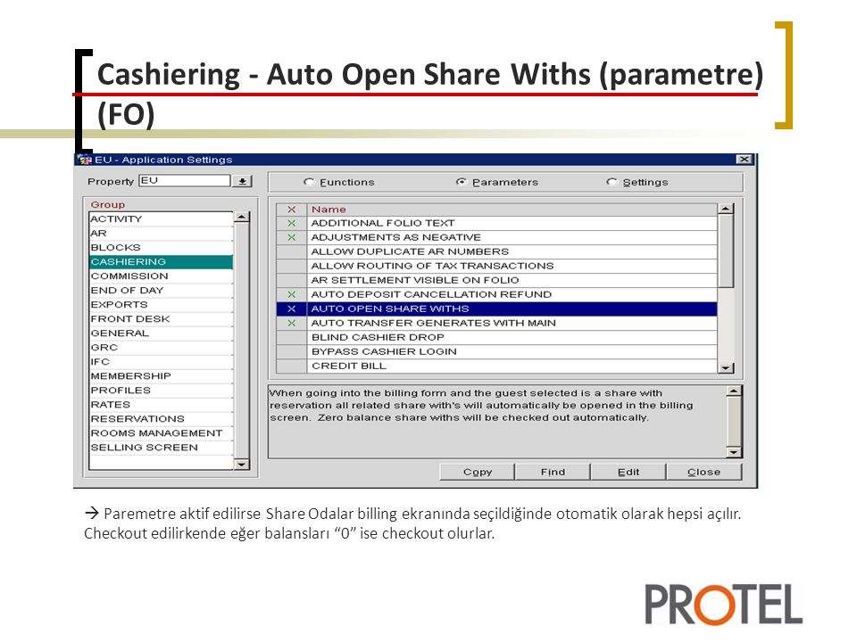 Cashiering - Auto Open Share Withs (parametre) (FO)