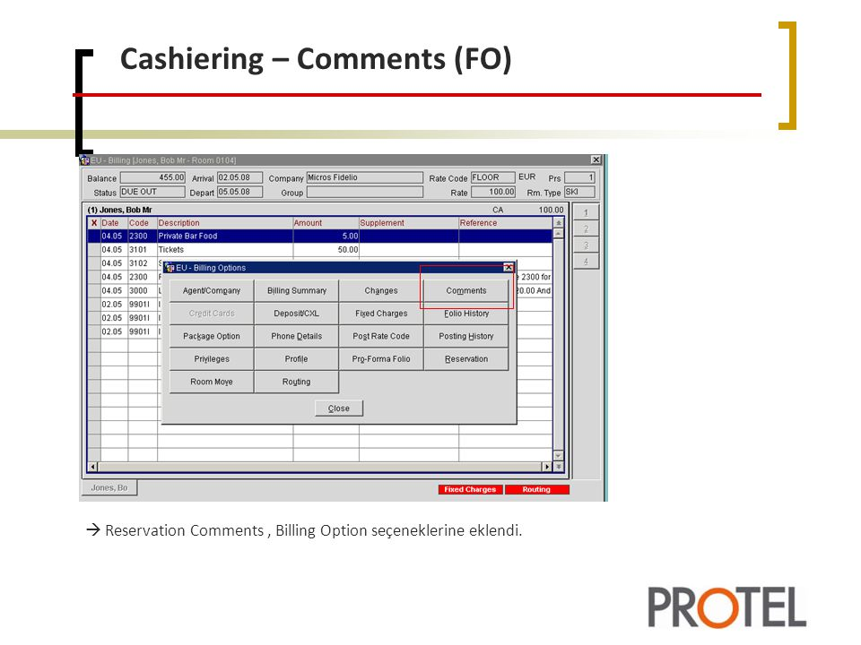 Cashiering – Comments (FO)