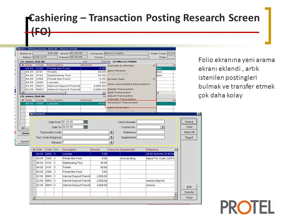 Cashiering – Transaction Posting Research Screen (FO)