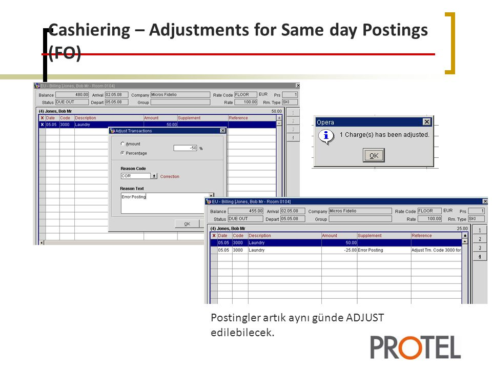 Cashiering – Adjustments for Same day Postings (FO)