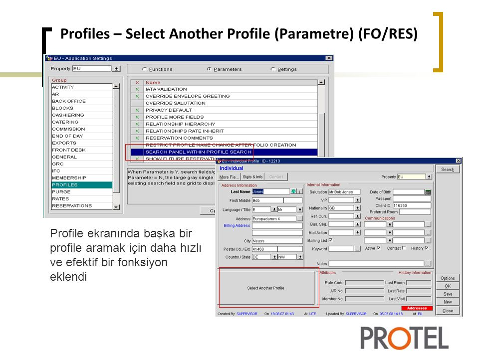 Profiles – Select Another Profile (Parametre) (FO/RES)