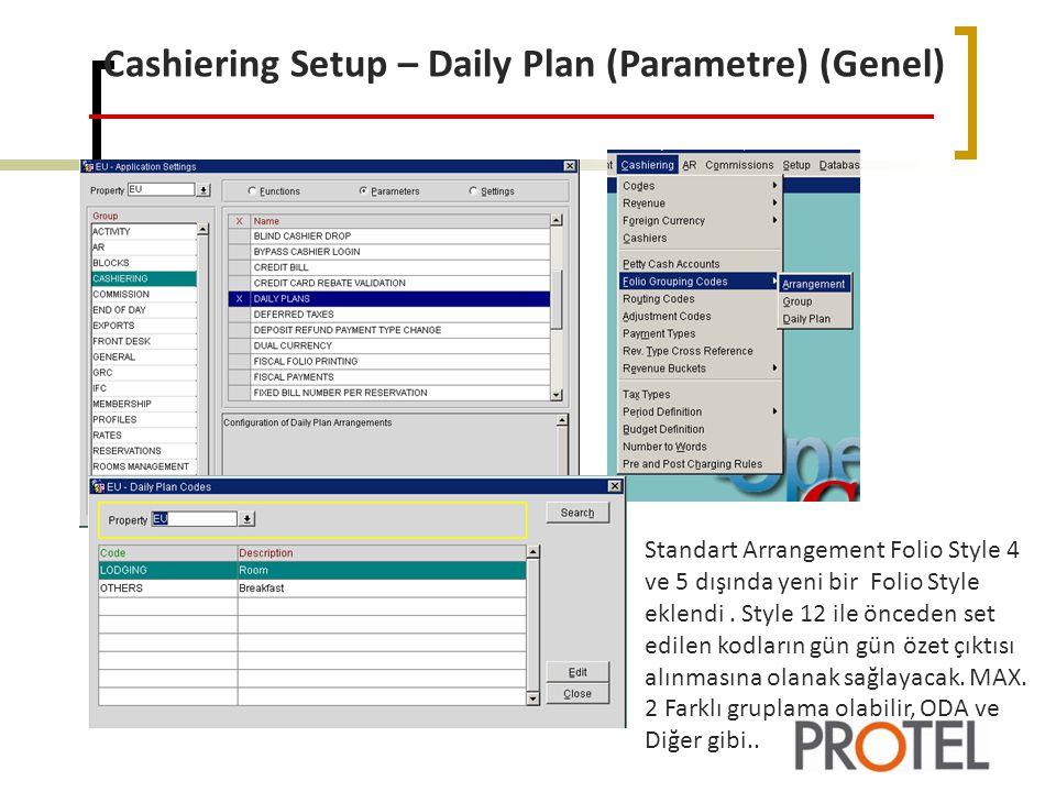 Cashiering Setup – Daily Plan (Parametre) (Genel)