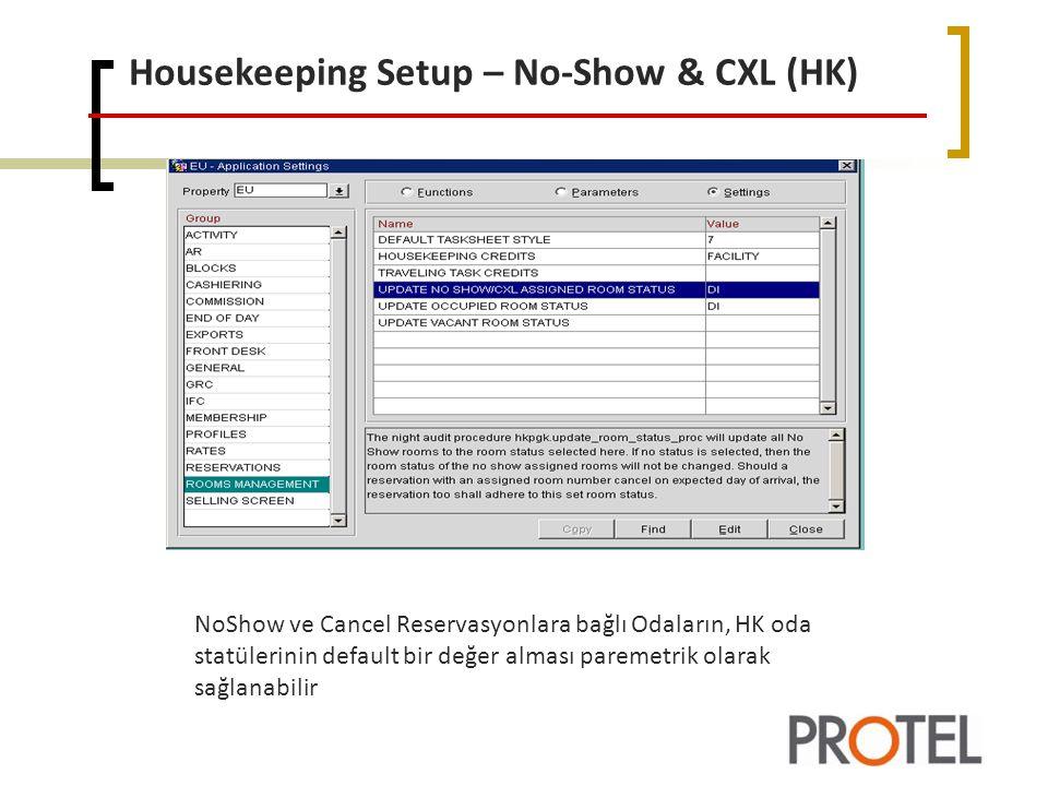 Housekeeping Setup – No-Show & CXL (HK)