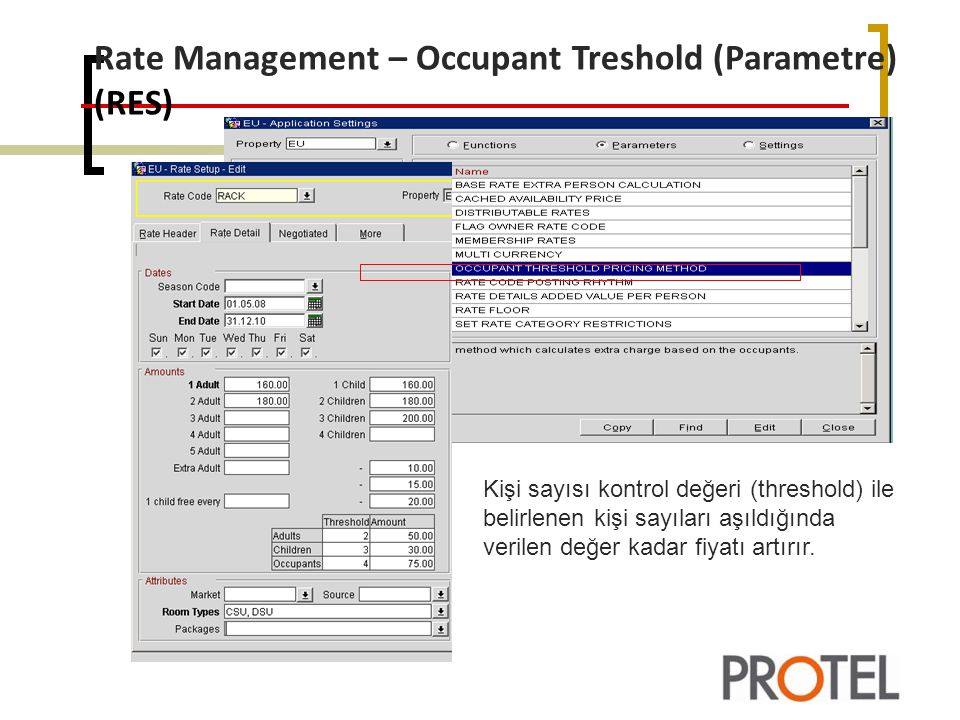 Rate Management – Occupant Treshold (Parametre) (RES)