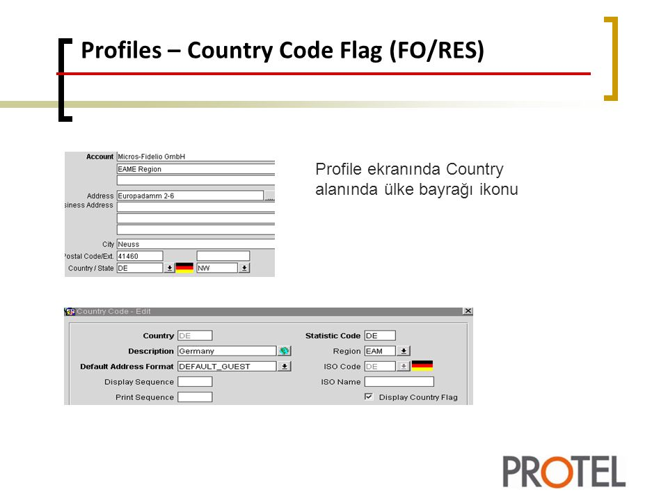 Profiles – Country Code Flag (FO/RES)