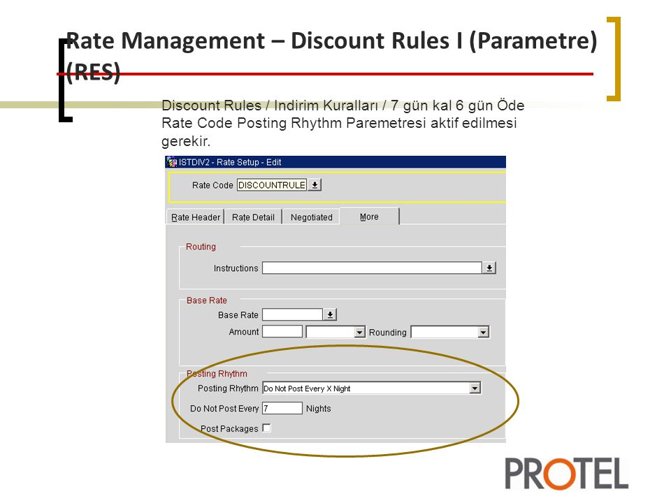 Rate Management – Discount Rules I (Parametre) (RES)