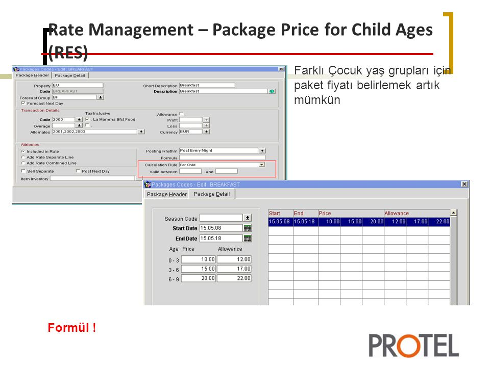 Rate Management – Package Price for Child Ages (RES)