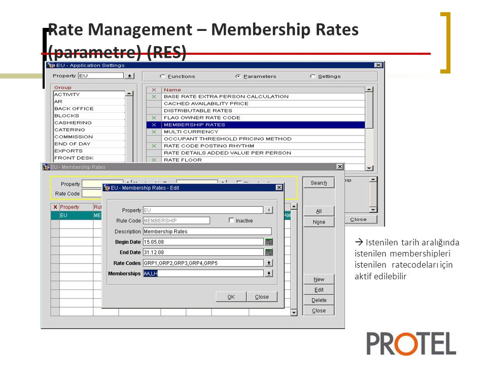 Rate Management – Membership Rates (parametre) (RES)