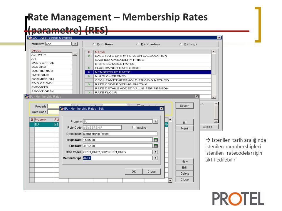 Rate Management – Membership Rates (parametre) (RES)