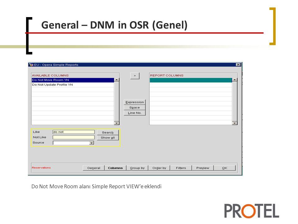 General – DNM in OSR (Genel)