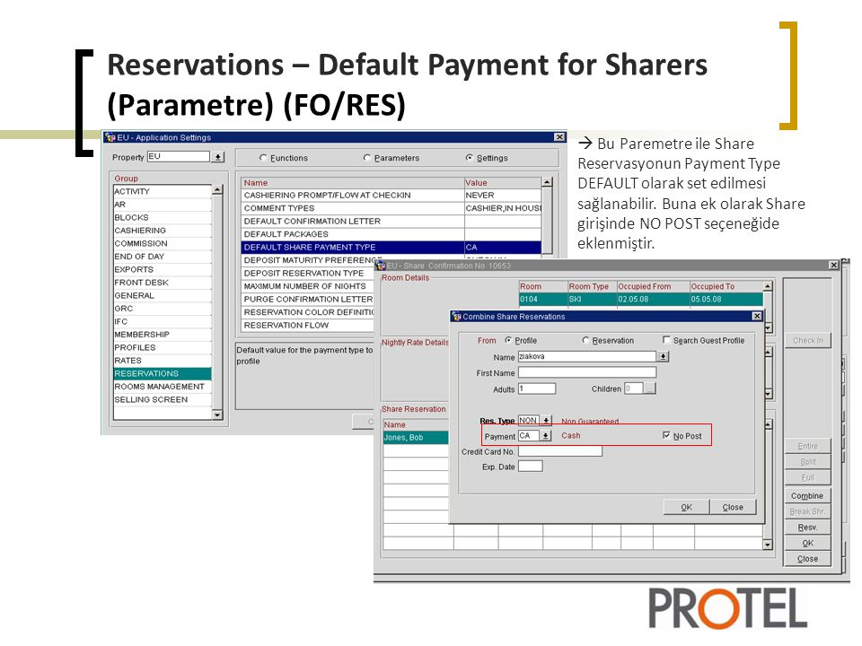 Reservations – Default Payment for Sharers (Parametre) (FO/RES)