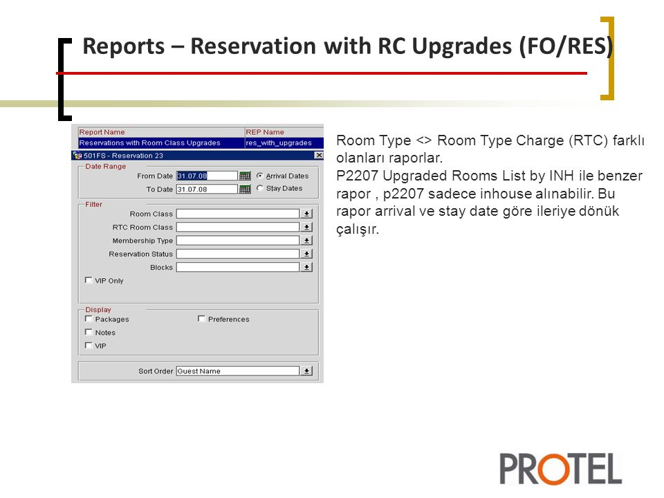 Reports – Reservation with RC Upgrades (FO/RES)