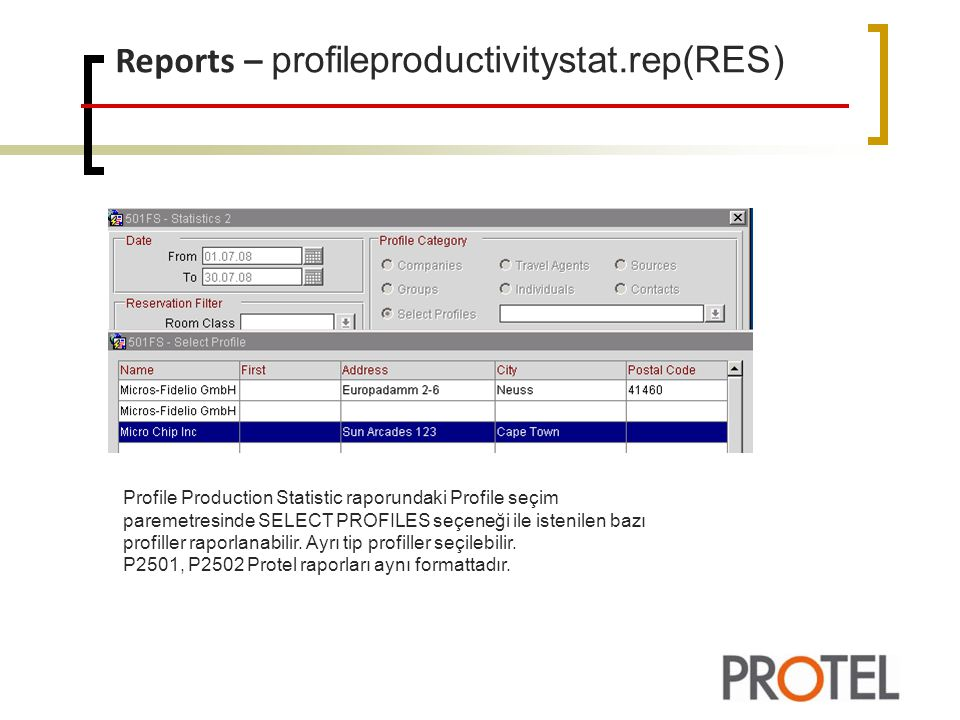 Reports – profileproductivitystat.rep(RES)