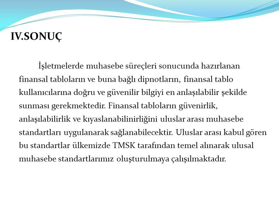 IV.SONUÇ