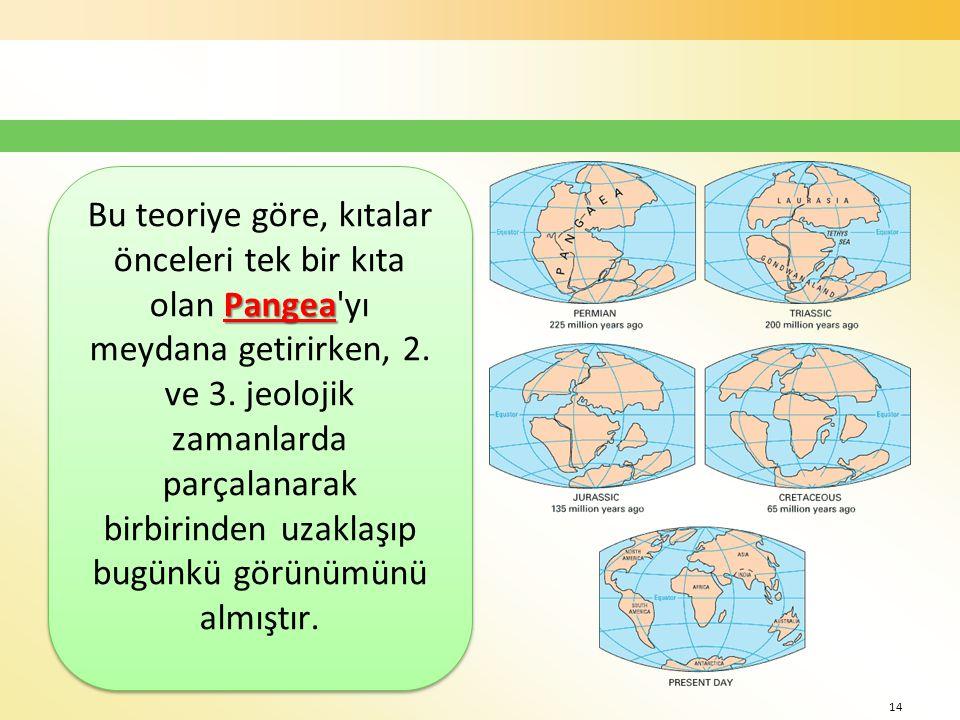 Bu teoriye göre, kıtalar önceleri tek bir kıta olan Pangea yı meydana getirirken, 2.