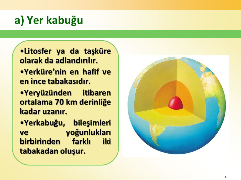 a) Yer kabuğu Litosfer ya da taşküre olarak da adlandırılır.