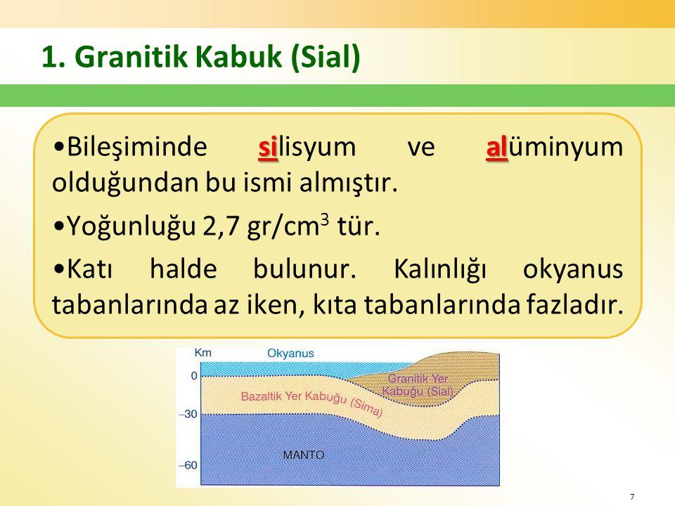 1. Granitik Kabuk (Sial) Bileşiminde silisyum ve alüminyum olduğundan bu ismi almıştır. Yoğunluğu 2,7 gr/cm3 tür.
