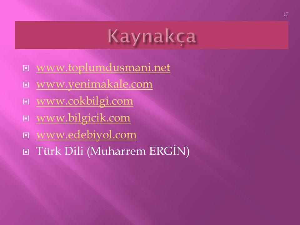 Kaynakça www.toplumdusmani.net www.yenimakale.com www.cokbilgi.com