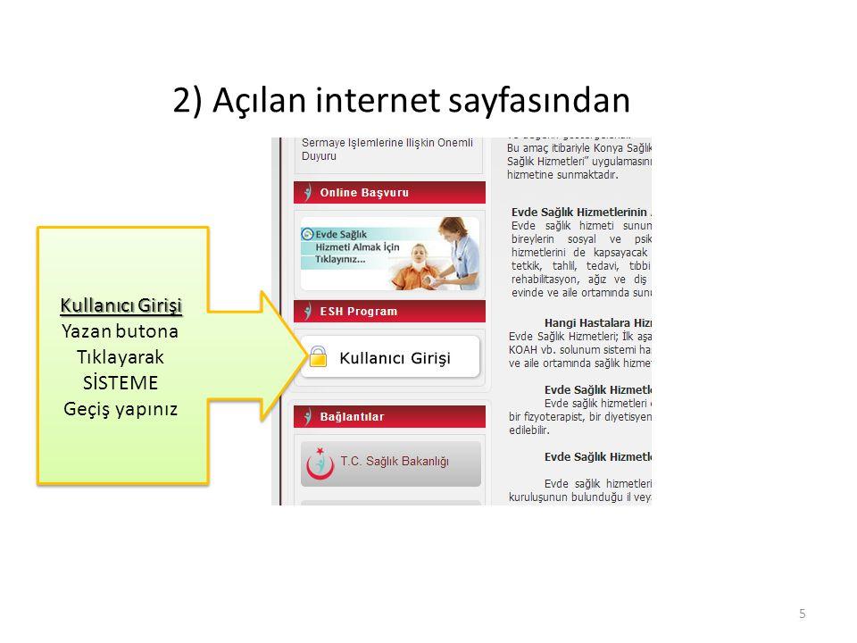 2) Açılan internet sayfasından