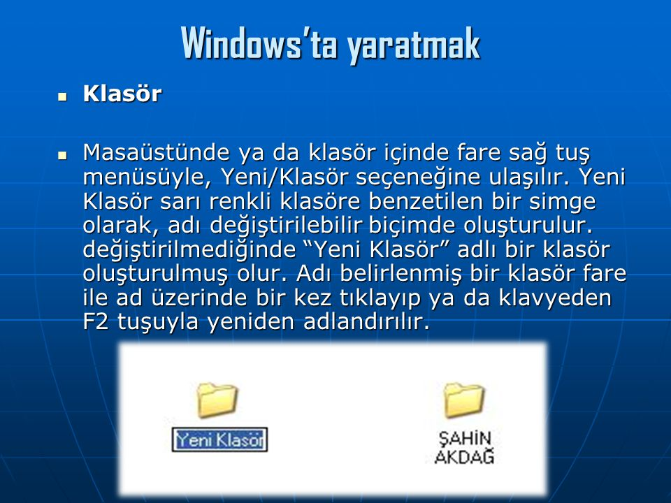 Windows'ta yaratmak Klasör