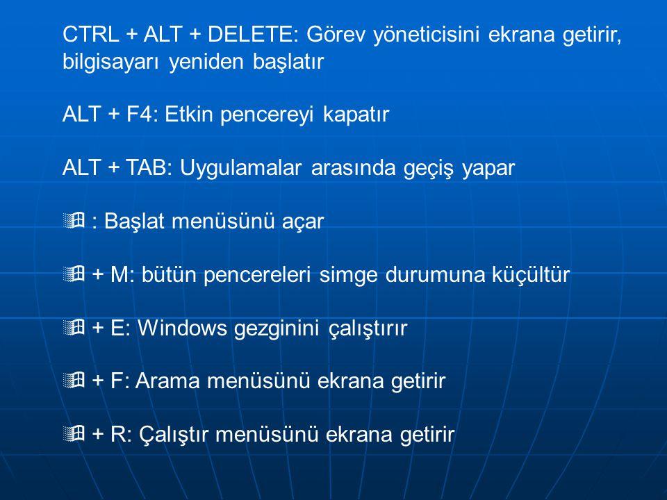 CTRL + ALT + DELETE: Görev yöneticisini ekrana getirir, bilgisayarı yeniden başlatır