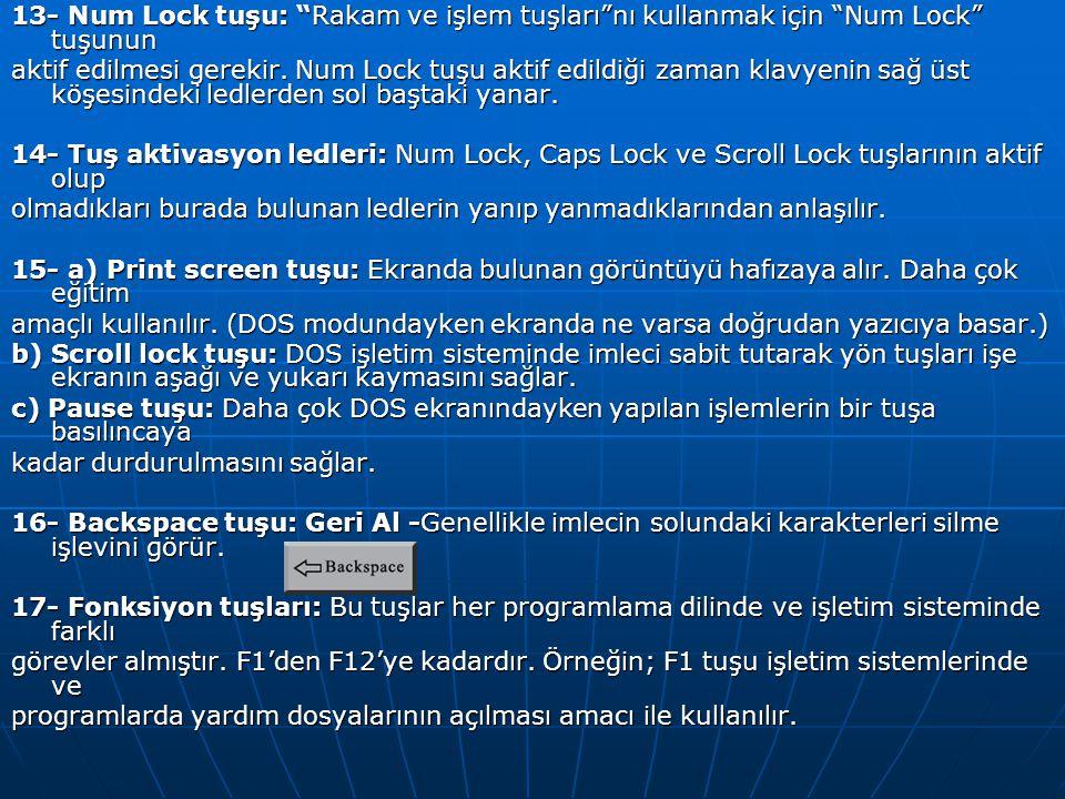 13- Num Lock tuşu: Rakam ve işlem tuşları nı kullanmak için Num Lock tuşunun