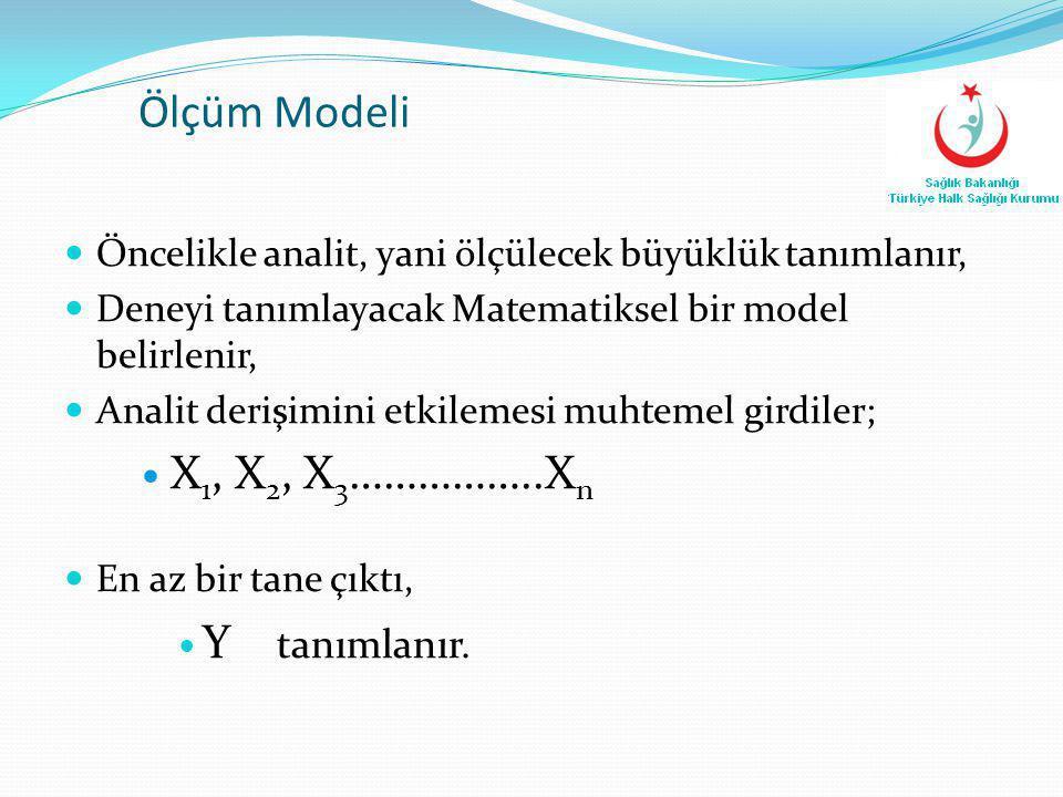 Ölçüm Modeli X1, X2, X3……………..Xn Y tanımlanır.