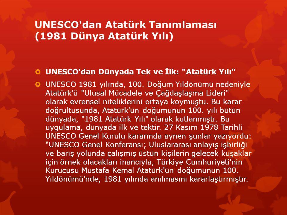 UNESCO dan Atatürk Tanımlaması (1981 Dünya Atatürk Yılı)