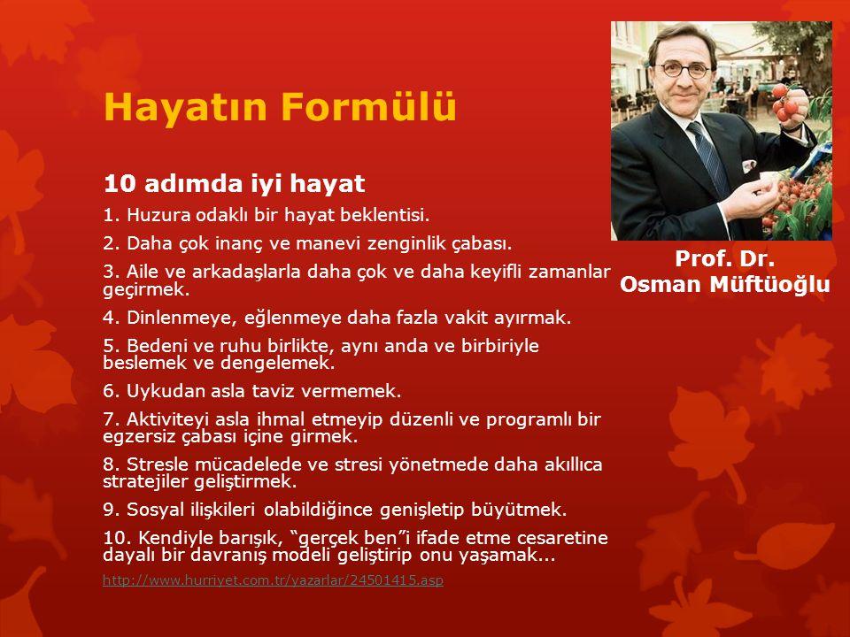 Hayatın Formülü 10 adımda iyi hayat Prof. Dr. Osman Müftüoğlu