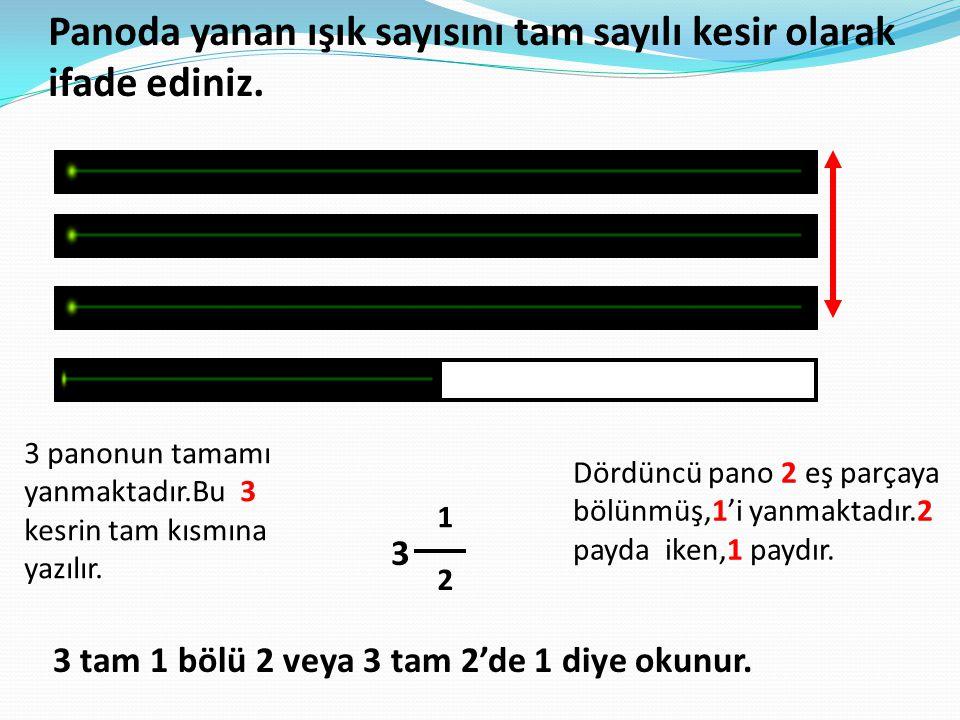 Panoda yanan ışık sayısını tam sayılı kesir olarak ifade ediniz.