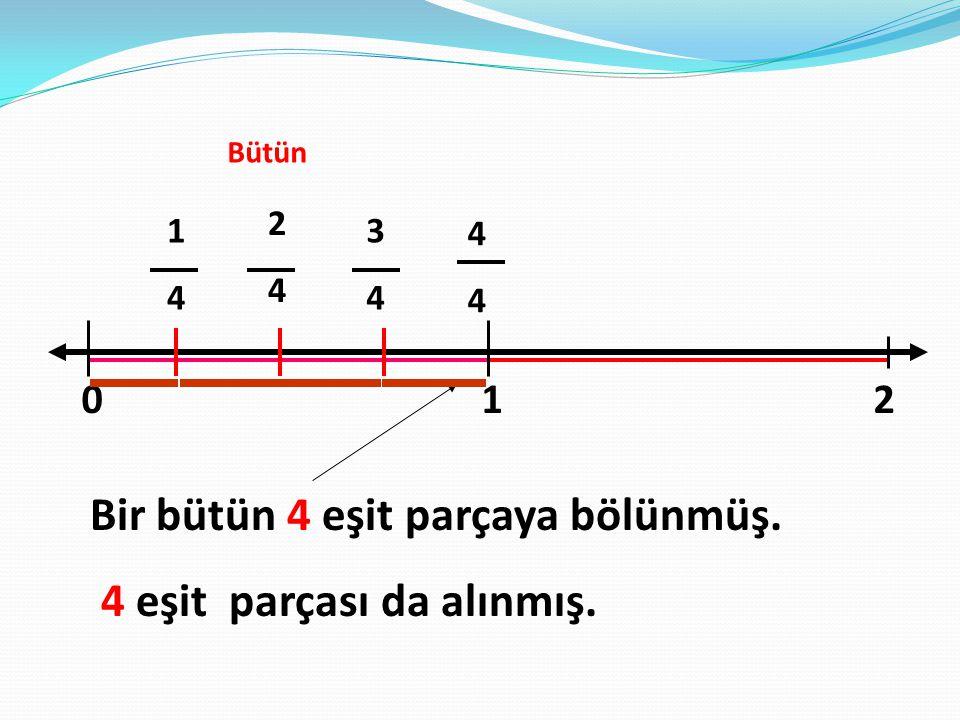 Bir bütün 4 eşit parçaya bölünmüş. 4 eşit parçası da alınmış.