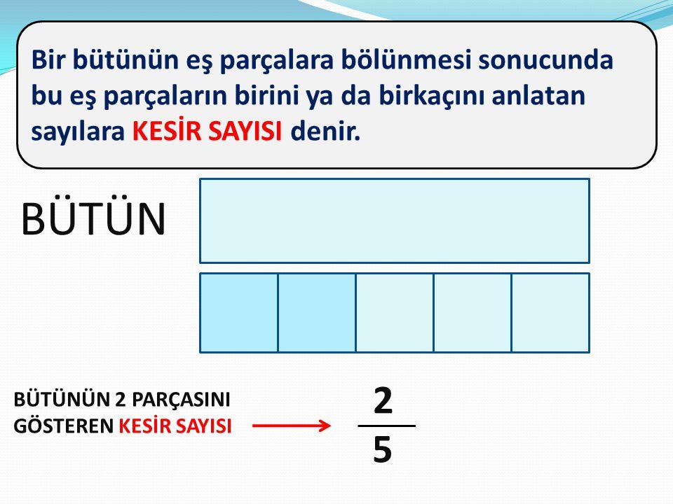 Bir bütünün eş parçalara bölünmesi sonucunda bu eş parçaların birini ya da birkaçını anlatan sayılara KESİR SAYISI denir.