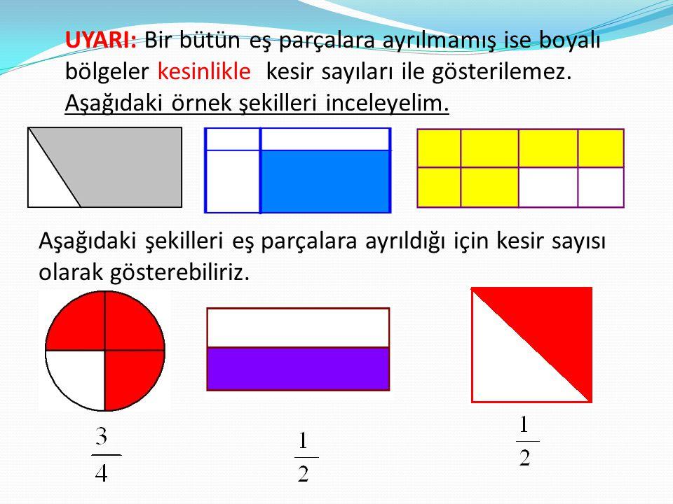 UYARI: Bir bütün eş parçalara ayrılmamış ise boyalı bölgeler kesinlikle kesir sayıları ile gösterilemez.