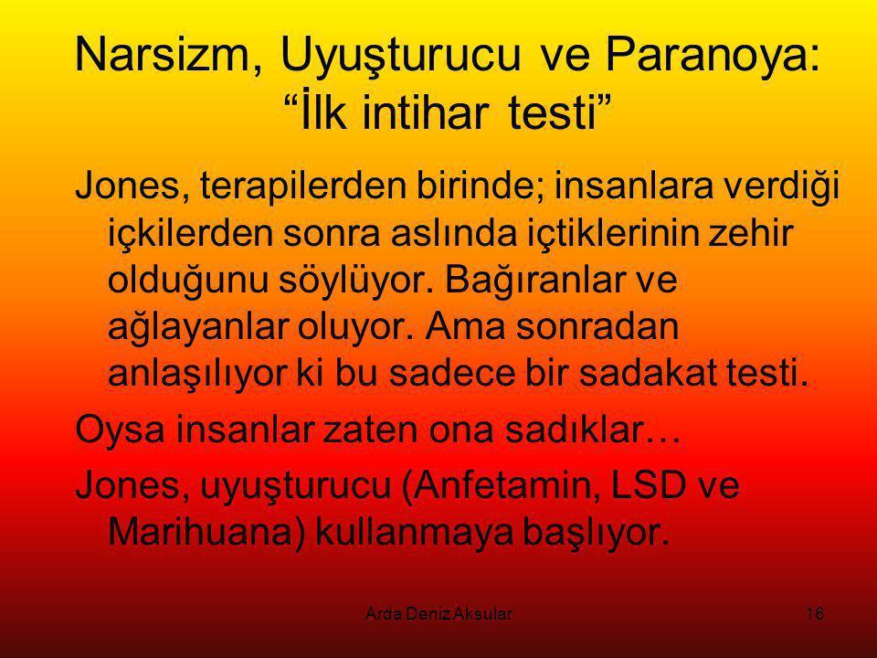 Narsizm, Uyuşturucu ve Paranoya: İlk intihar testi