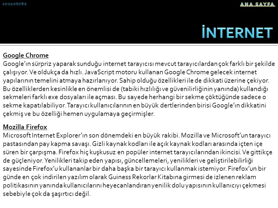 İNTERNET Google Chrome