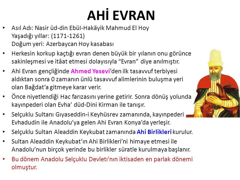 AHİ EVRAN Asıl Adı: Nasir üd-din EbüI-Hakäyik Mahmud El Hoy Yaşadığı yıllar: (1171-1261) Doğum yeri: Azerbaycan Hoy kasabası.