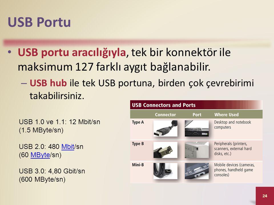 USB Portu USB portu aracılığıyla, tek bir konnektör ile maksimum 127 farklı aygıt bağlanabilir.