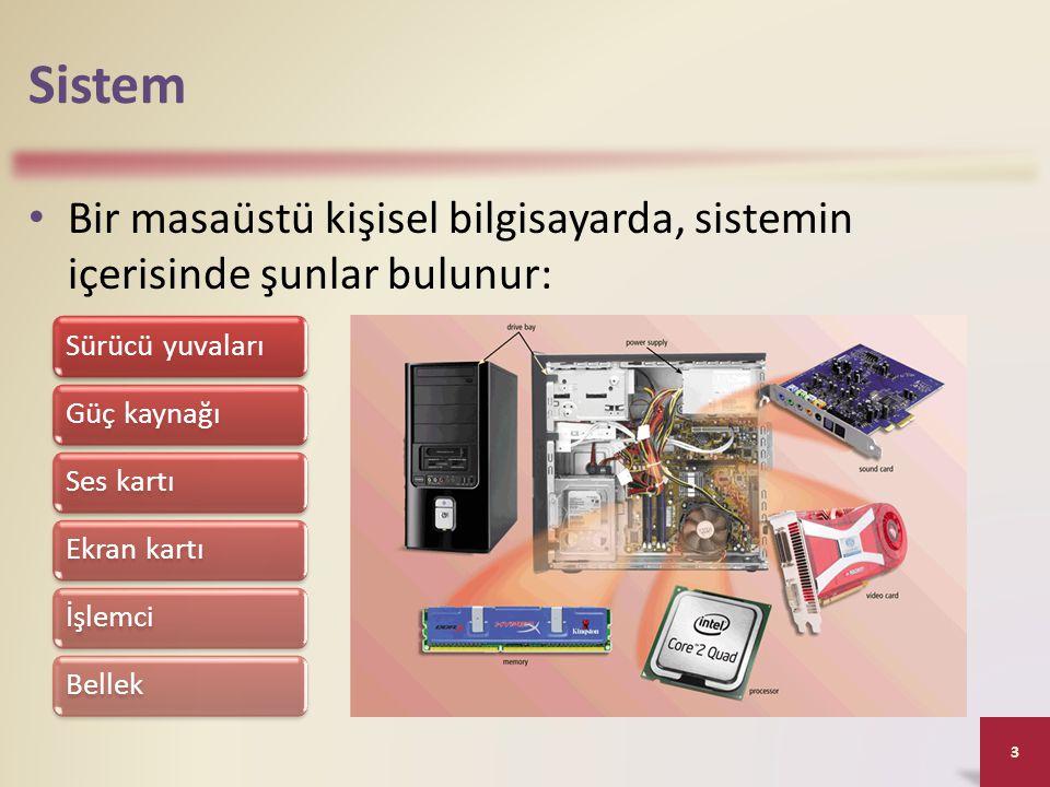 Sistem Bir masaüstü kişisel bilgisayarda, sistemin içerisinde şunlar bulunur: Sürücü yuvaları. Güç kaynağı.