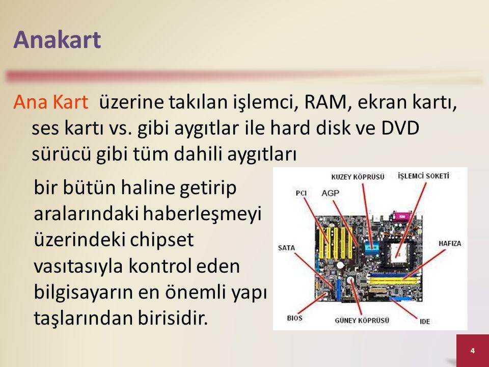 Anakart Ana Kart üzerine takılan işlemci, RAM, ekran kartı, ses kartı vs. gibi aygıtlar ile hard disk ve DVD sürücü gibi tüm dahili aygıtları.