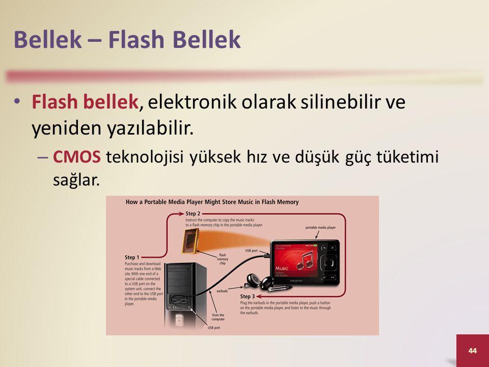 Bellek – Flash Bellek Flash bellek, elektronik olarak silinebilir ve yeniden yazılabilir. CMOS teknolojisi yüksek hız ve düşük güç tüketimi sağlar.