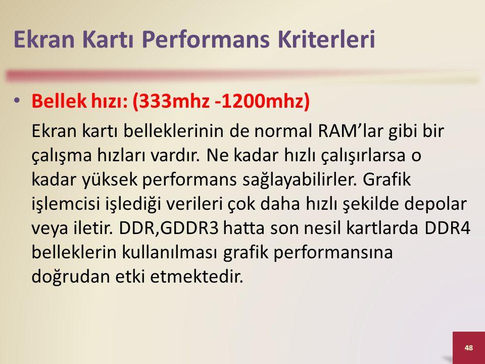Ekran Kartı Performans Kriterleri