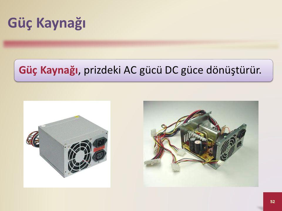 Güç Kaynağı Güç Kaynağı, prizdeki AC gücü DC güce dönüştürür.